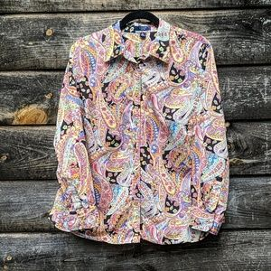 Chaps Vibrant Paisley Button Down Long Sleeve